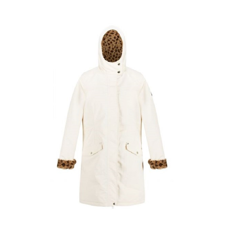 Insulated trimmed light vanilla parka jacket-