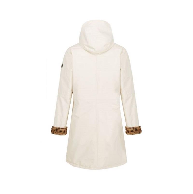 Insulated trimmed light vanilla parka jacket