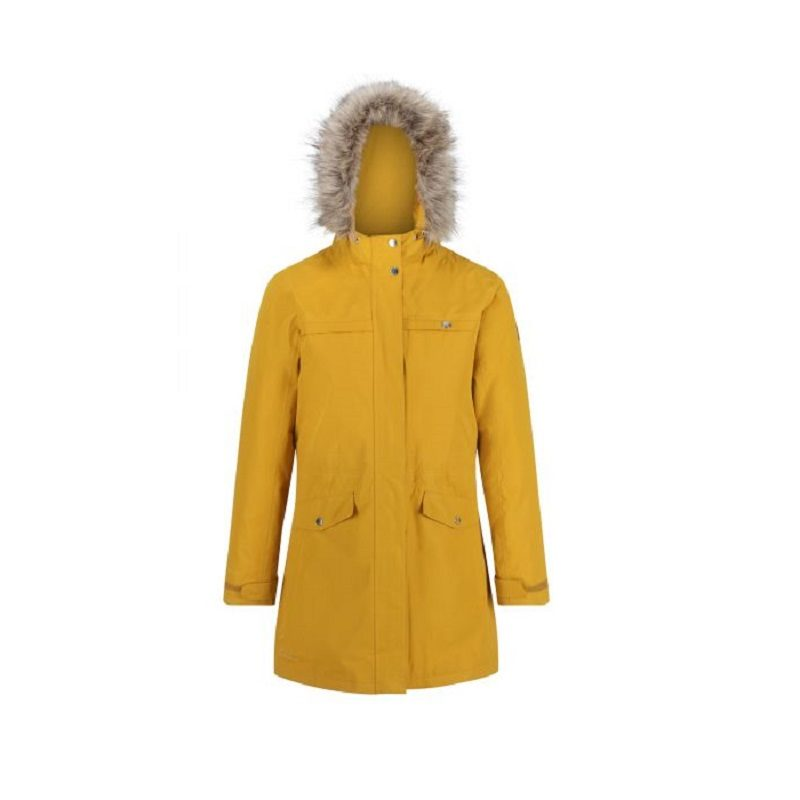 Insulated trimmed yellow parka jacket-
