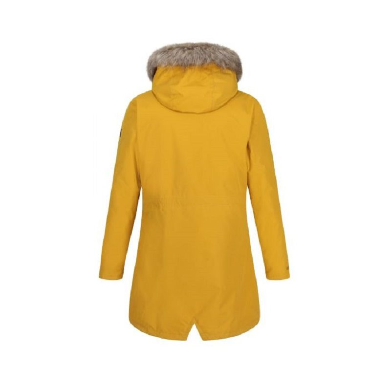 Insulated trimmed yellow parka jacket–