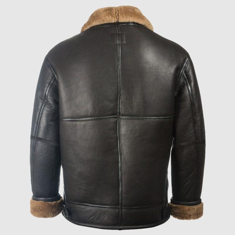 Men Black Aviator Shearling Jacket-