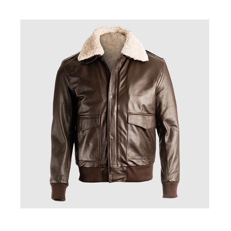 Men Brown Pilot Bomber Shearling Jacket
