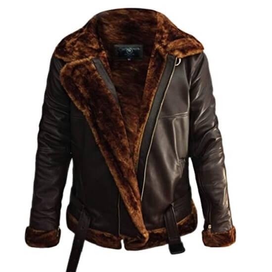 Brown shearling bomber jackets