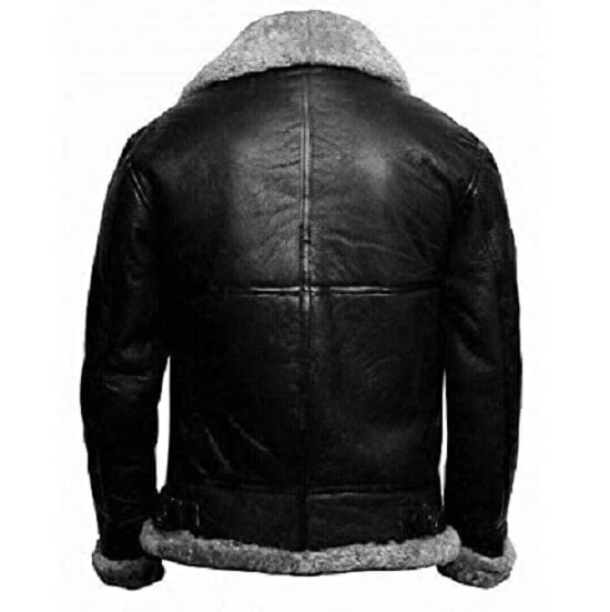 black and grey shearling bomber jacket-