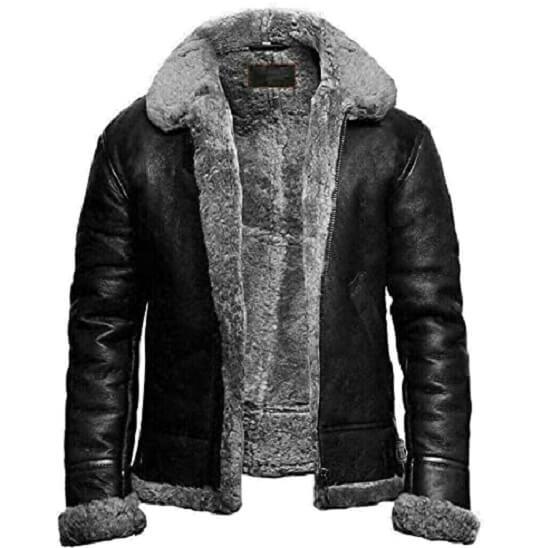 black and grey shearling bomber jacket