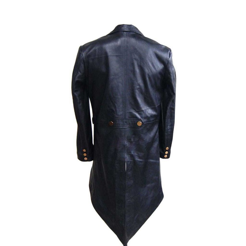100% Real Leather Black Tail Coat