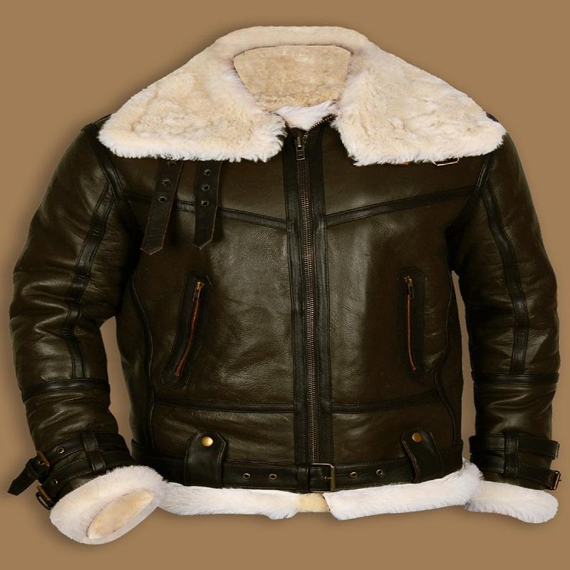B3 Bomber Sheepskin Green Leather Jacket