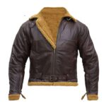 B3 Men Aviator Shearling Bomber Leather Jacket