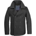Black Naval Pea Coat For Men