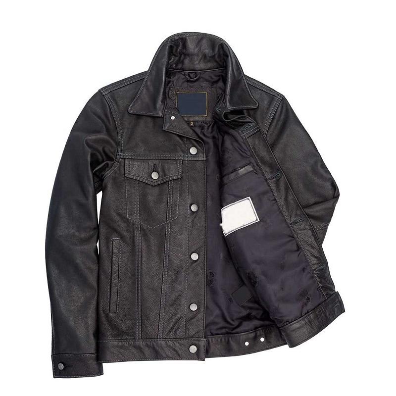 Blue Leather Denim Jacket