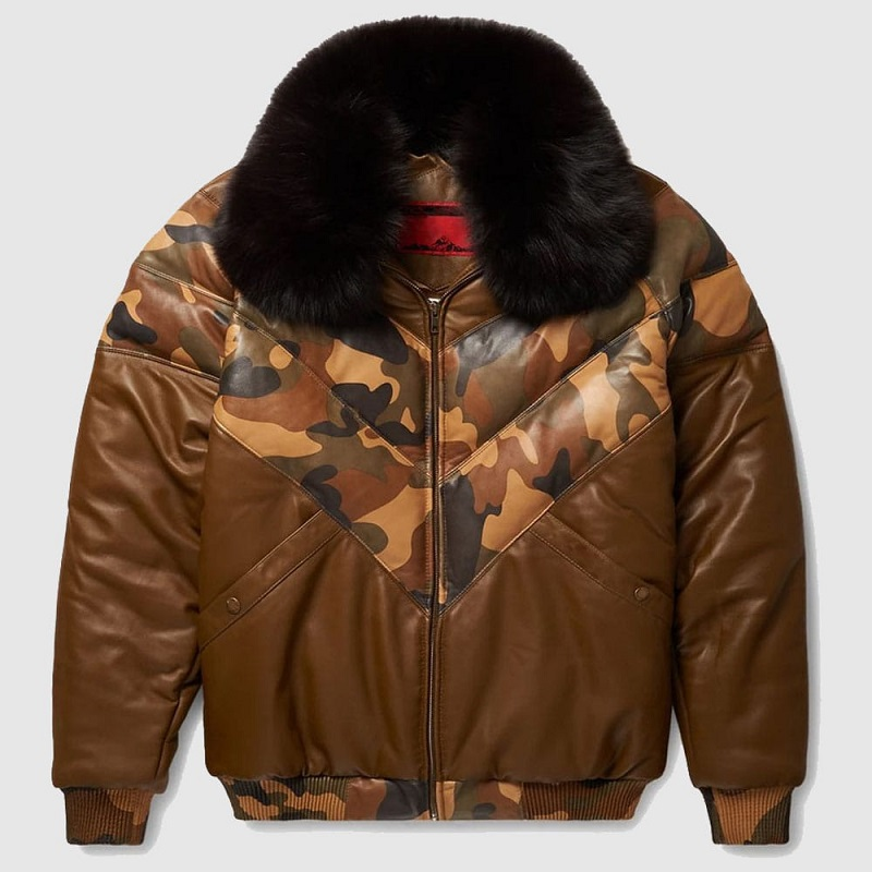 Brown V-Bomber Leather Jacket