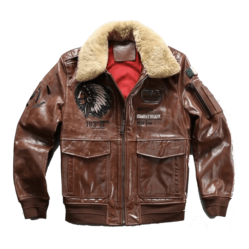 Genuine Brown Leather Air Force Pilot Jacket