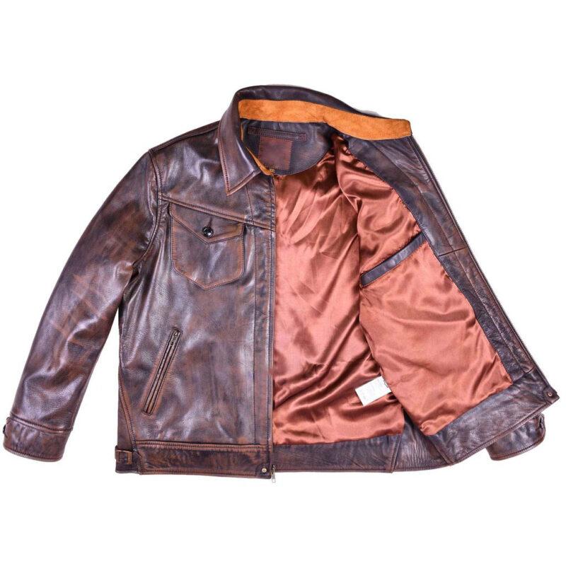 Goatskin Leather Brown Ranch Jacket