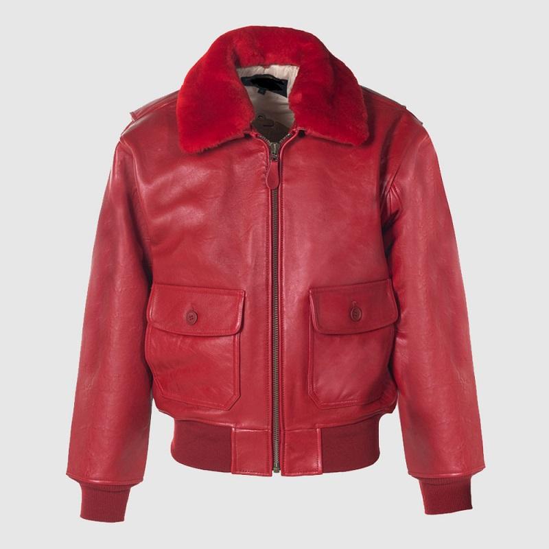 Lambskin G-1 Red Flight Jacket