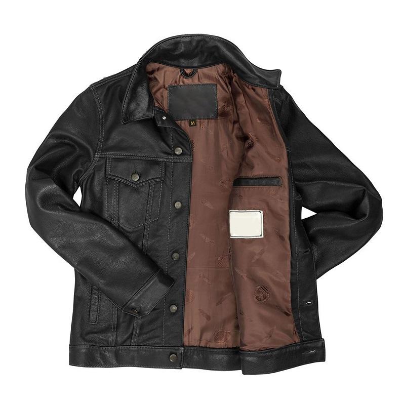Leather Black Denim Jacket