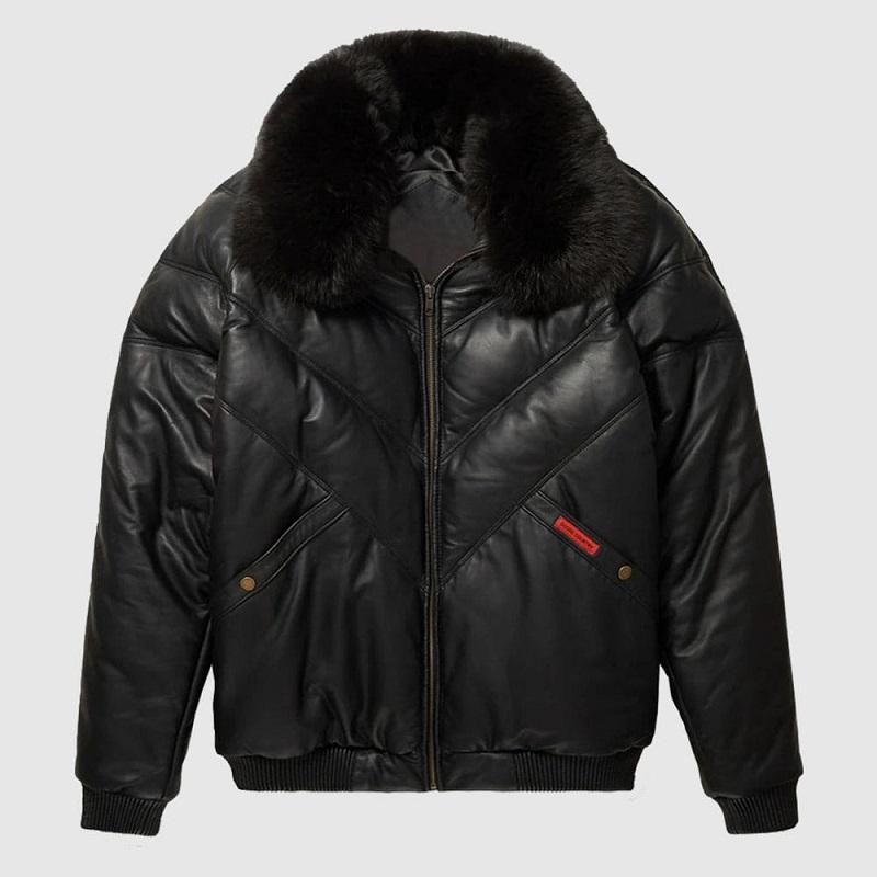 Leather Black V-Bomber Jacket