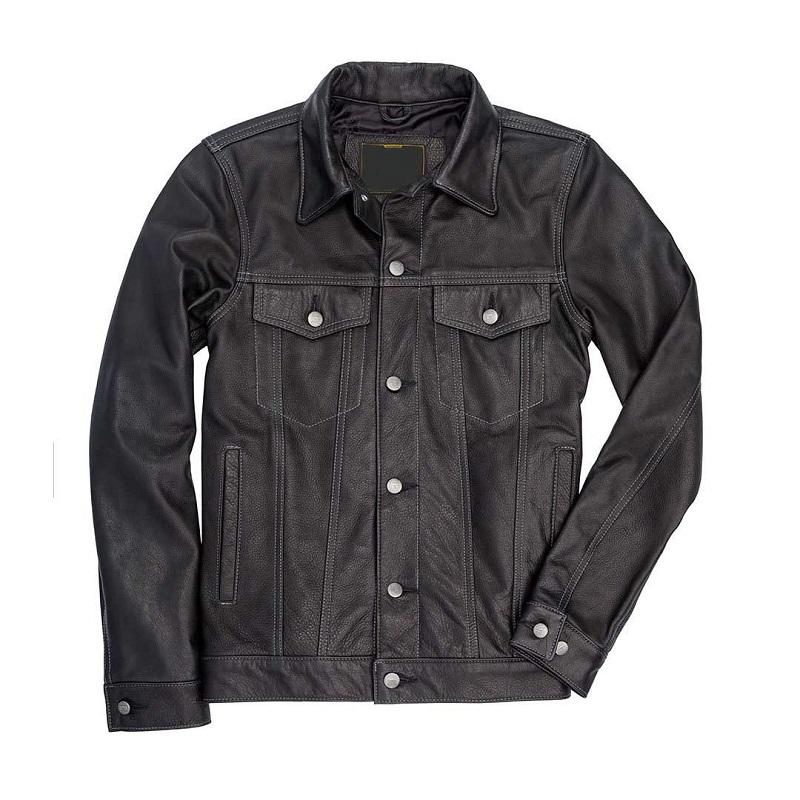 Leather Blue Denim Jacket