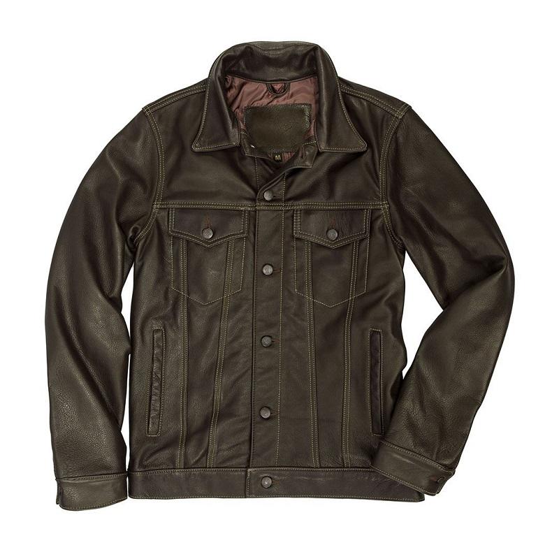 Leather Brown Denim Jacket