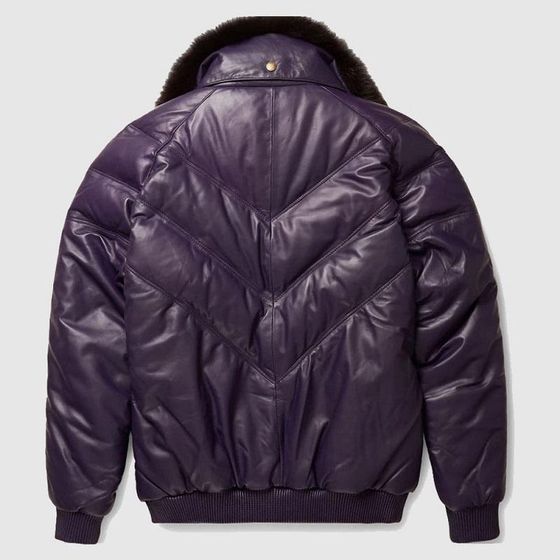 Leather Purple V Bomber Jacket