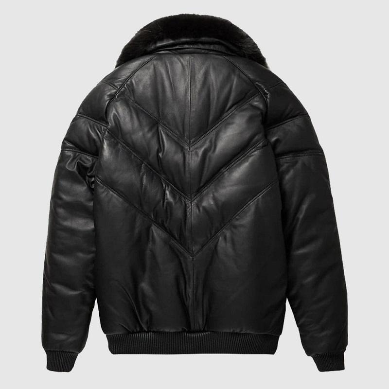 Leather V-Bomber Jacket Black