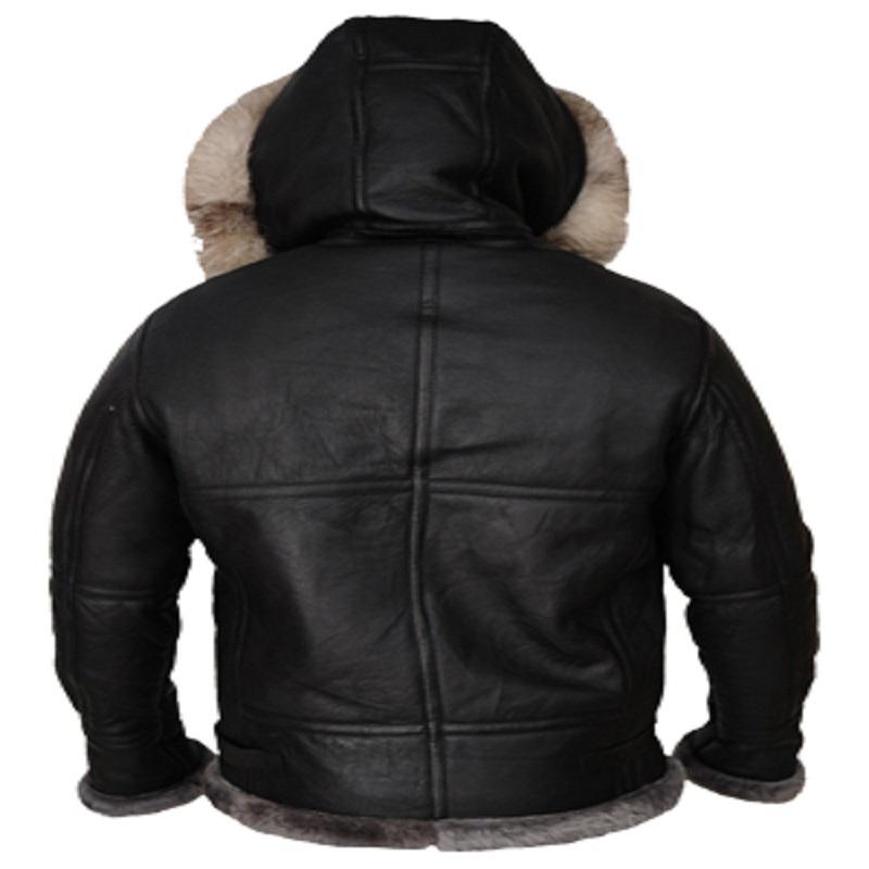 Men Black Shearling Hoodie Jacket