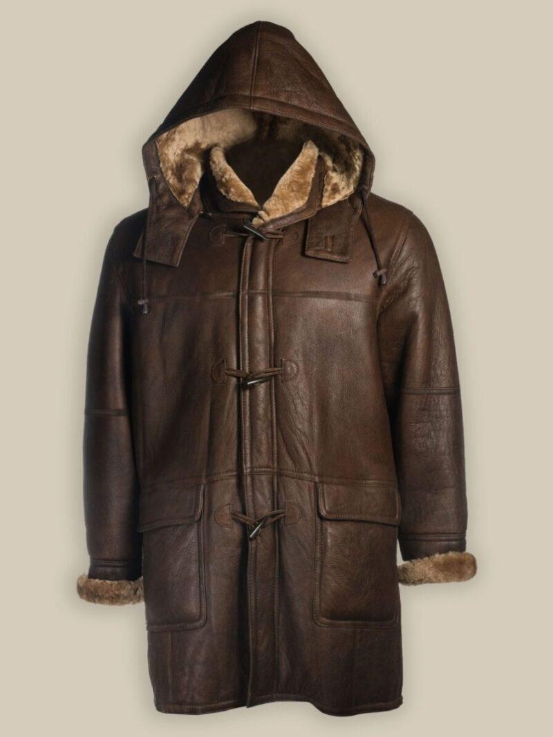 Men Brown Shearling Hoodie Coat