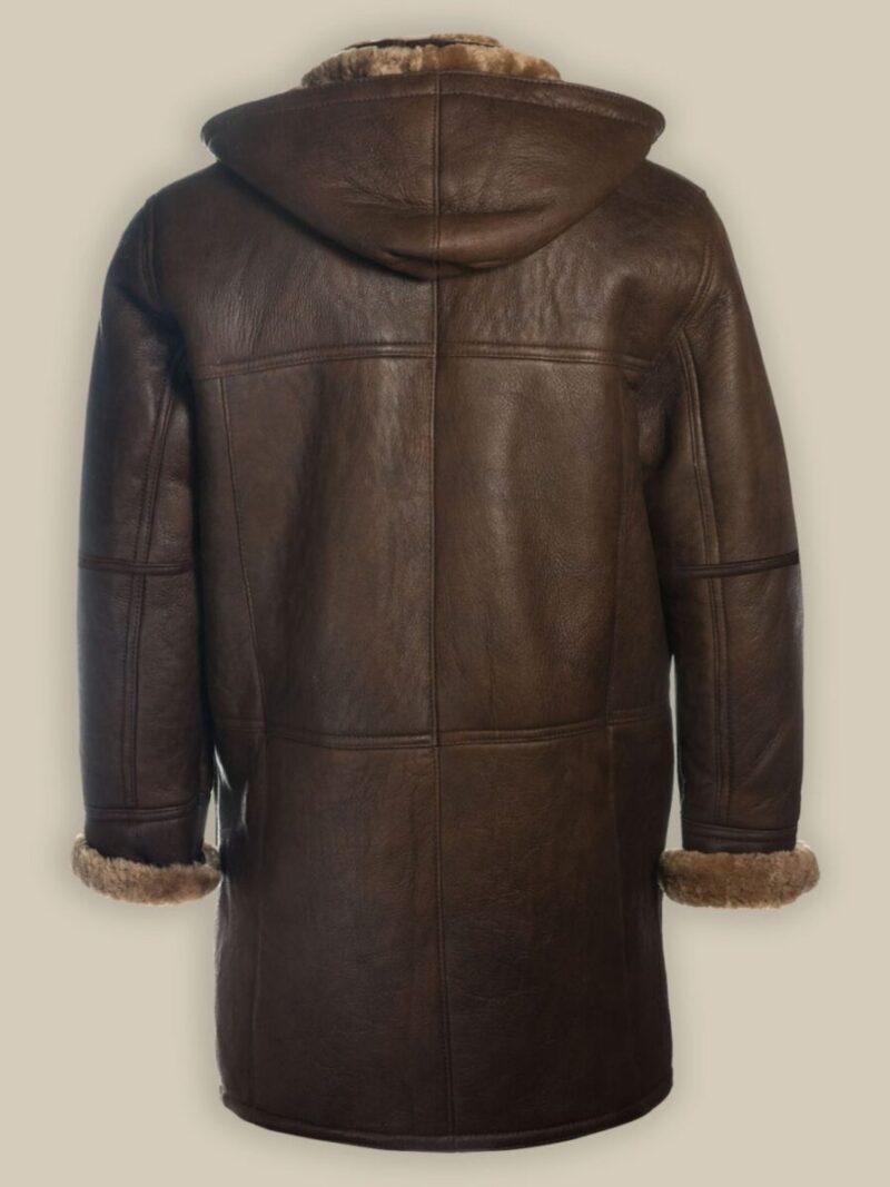 Men Brown Shearling Hoodie leather Coat