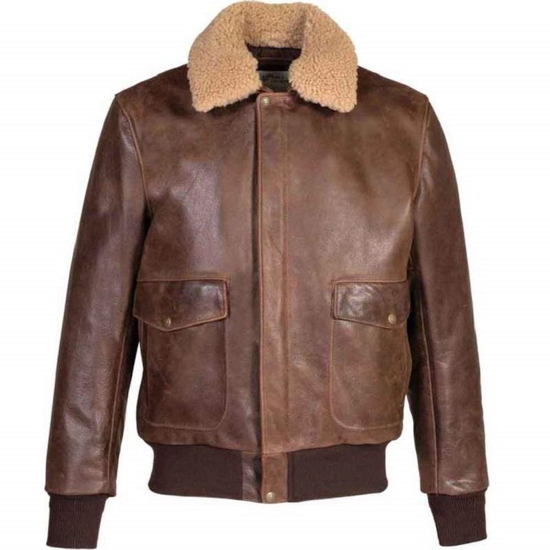 Mens 594 Naked Buffalo Leather Bomber Jacket