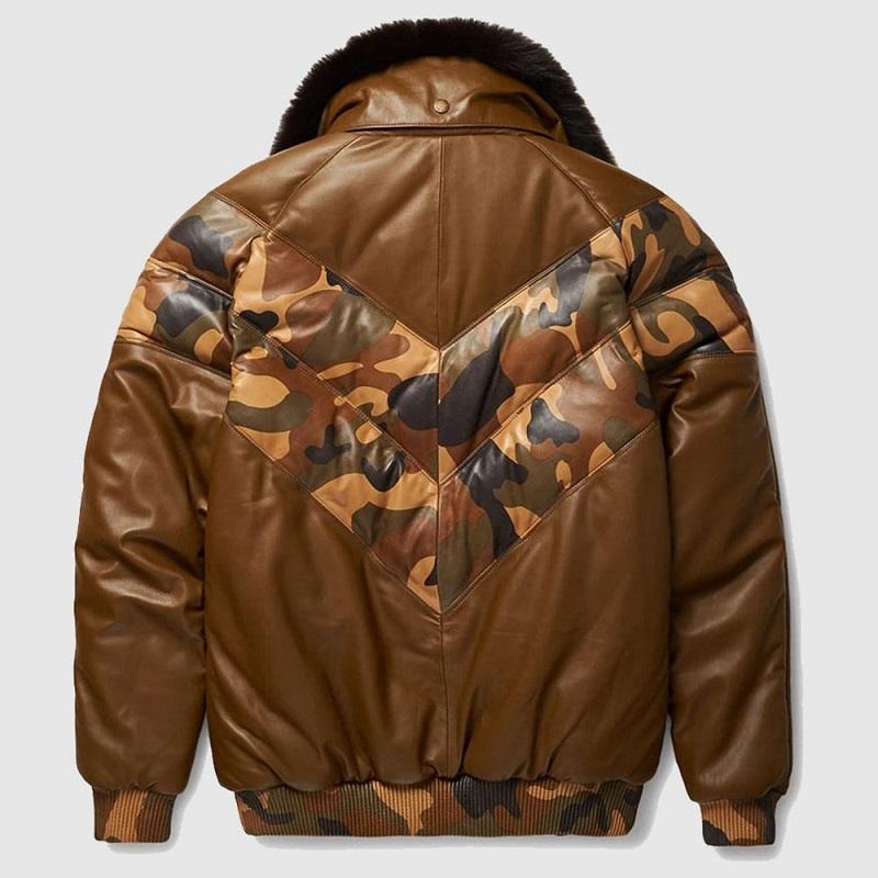 Men's Brown V-Bomber Leather Jacket