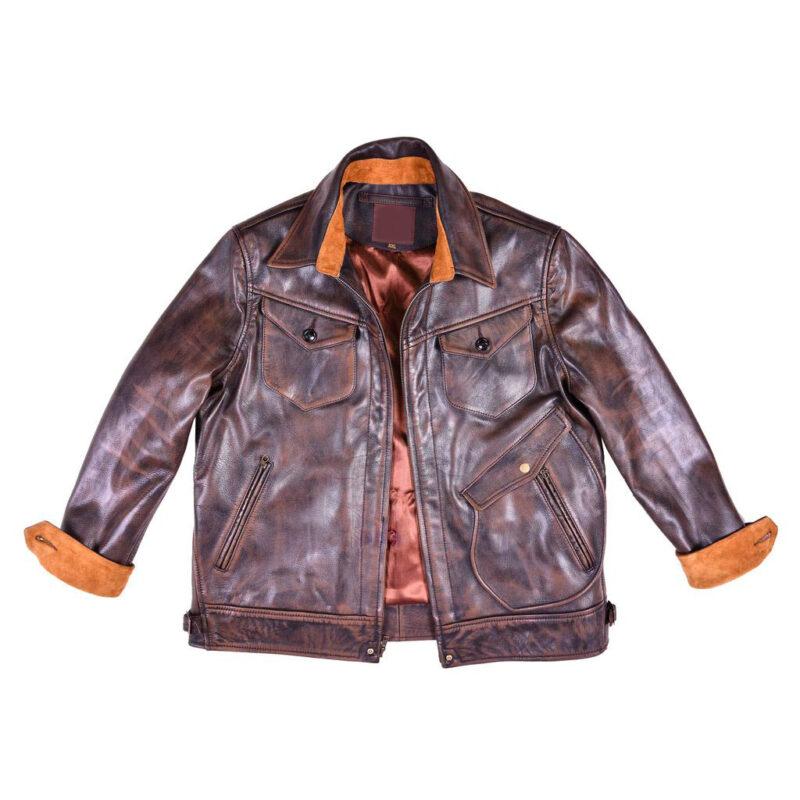 Original Goatskin Brown Leather Ranch Jacket