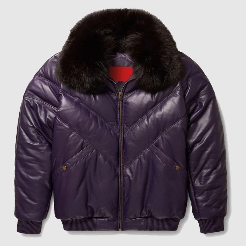 Purple Leather V Bomber Jacket