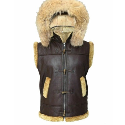 RAF B3 Shearling Vest With Hooded Fur Collar