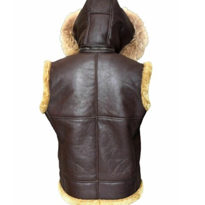 RAF B3 Shearling Vest With Hooded Fur Collar2