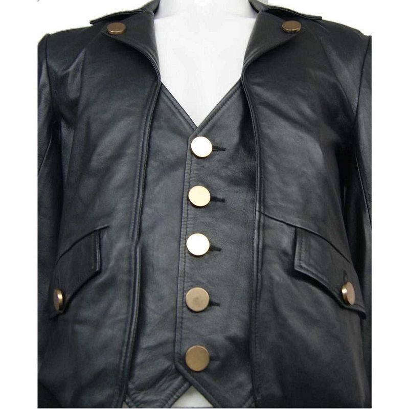 Real 100% Leather Black Tail Coat