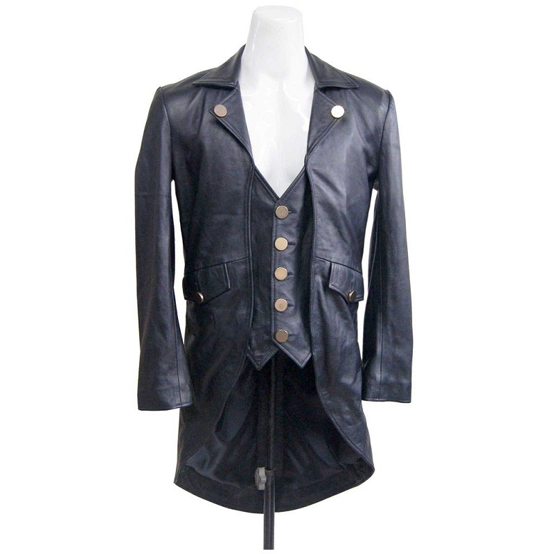 Real Leather Black Tail Coat