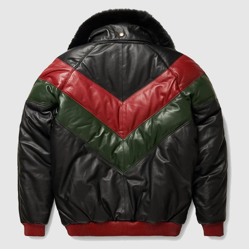 Red, Green And Black Bomber Leather Jacket