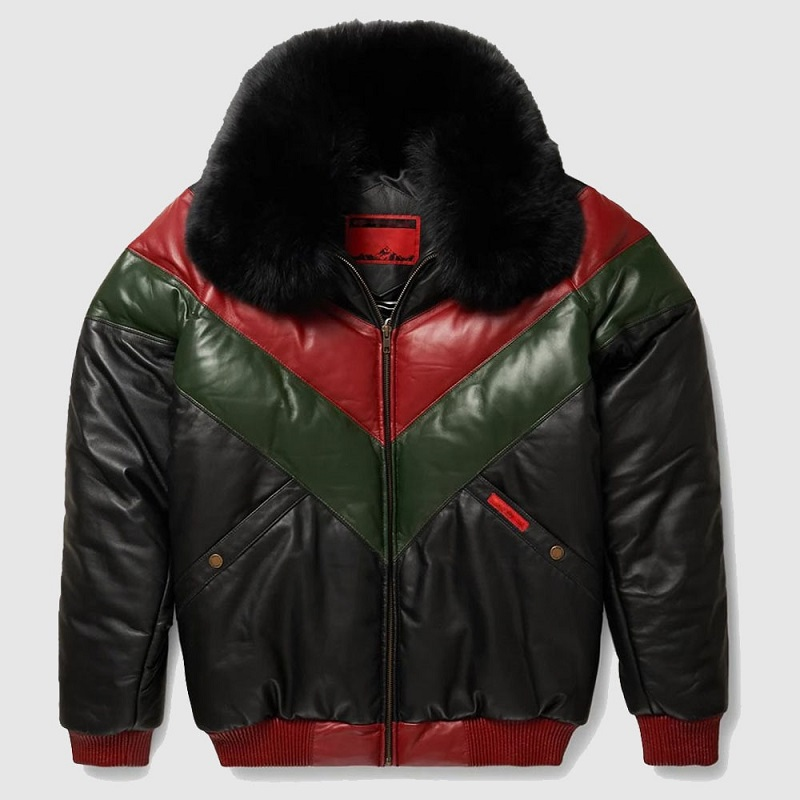 Red, Green And Black V-Bomber Leather Jacket