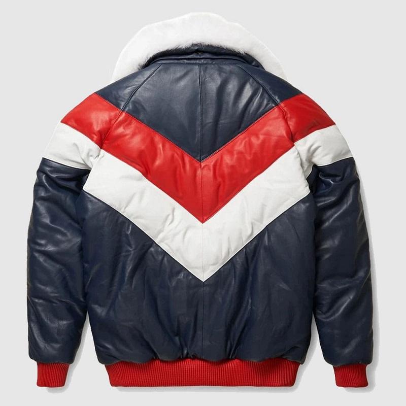 Red White V Bomber Leather Jacket