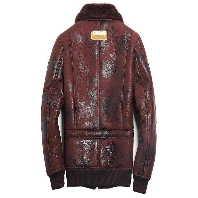 Sheep Skin Brown Wool Leather Pilot Jacket
