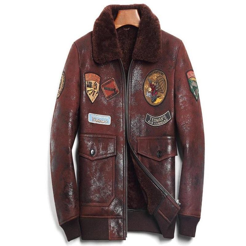 Sheep Skin Wool Brown Leather Pilot Jacket