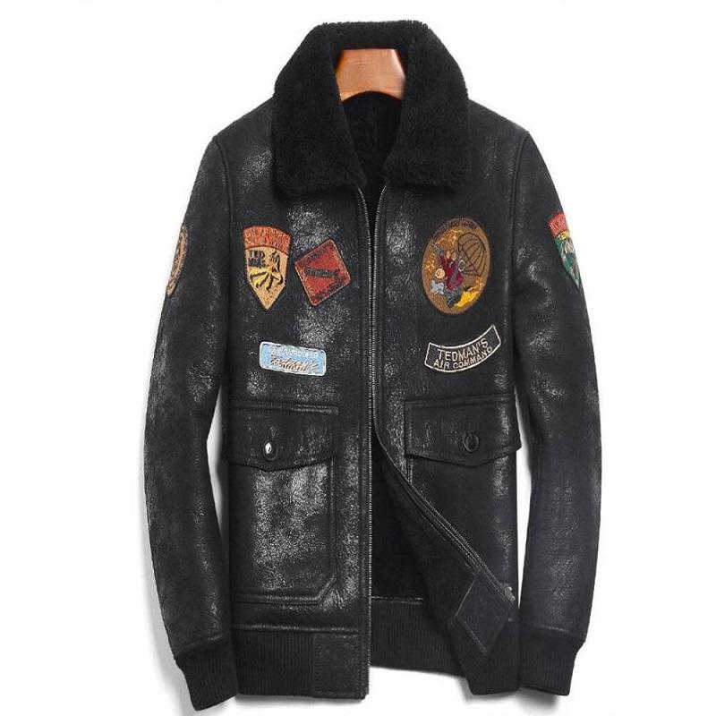 Sheep Skin Wool Leather Pilot Jacket