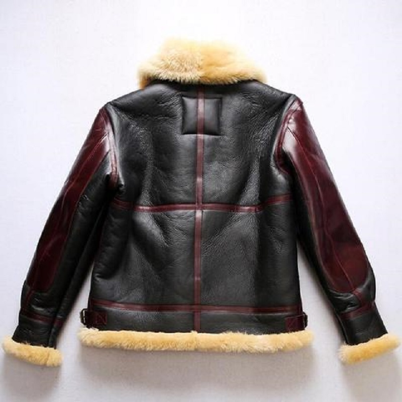 Sheepskin Leather Black Bomber Jacket