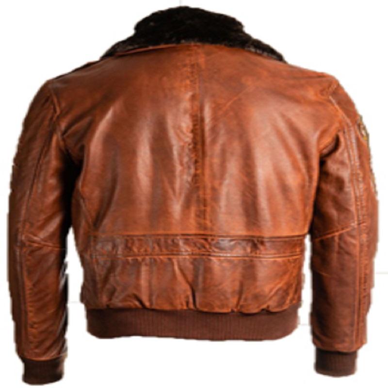 brown men leather jacket