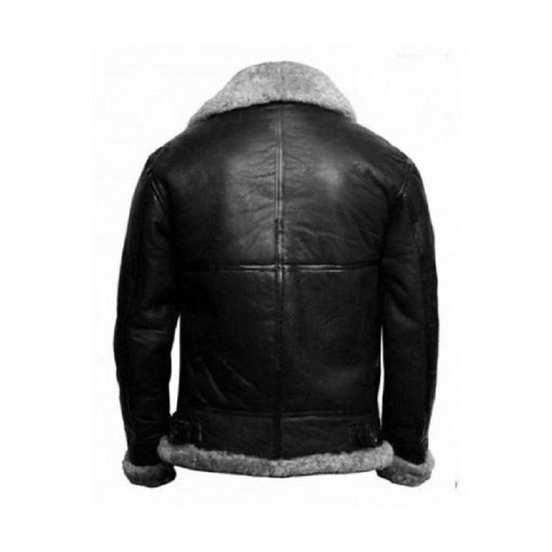 B3 Sheepskin Leather Black Bomber Jacket