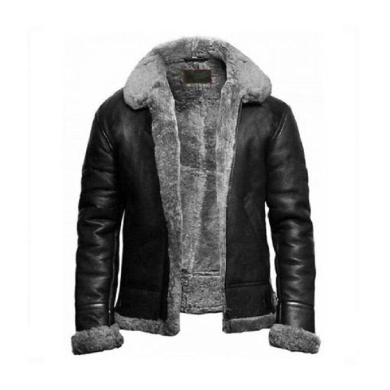 B3 Sheepskin Leather Bomber Black Jacket