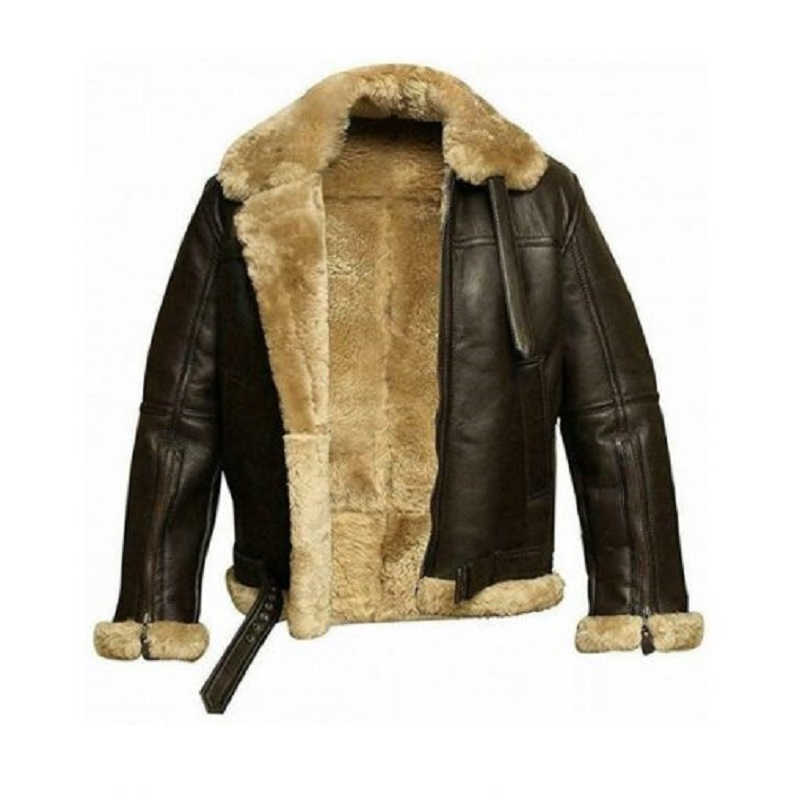 B3 Sheepskin Leather Bomber Brown Jacket