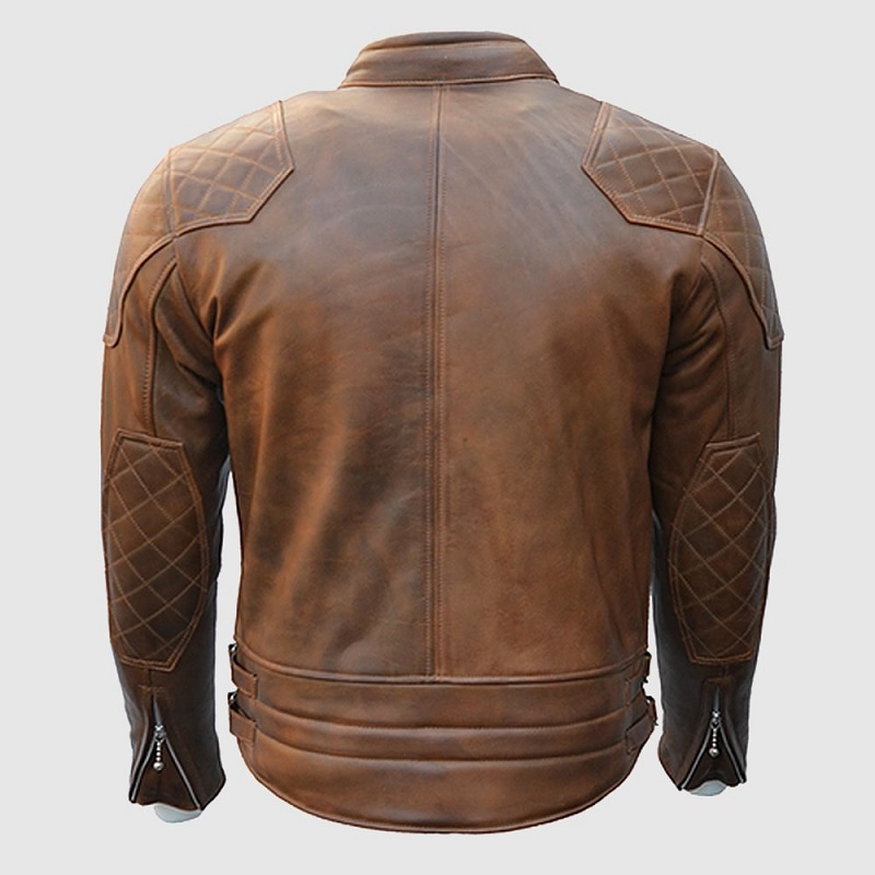 Goldtop 76 Armoured Brown Leather Jacket