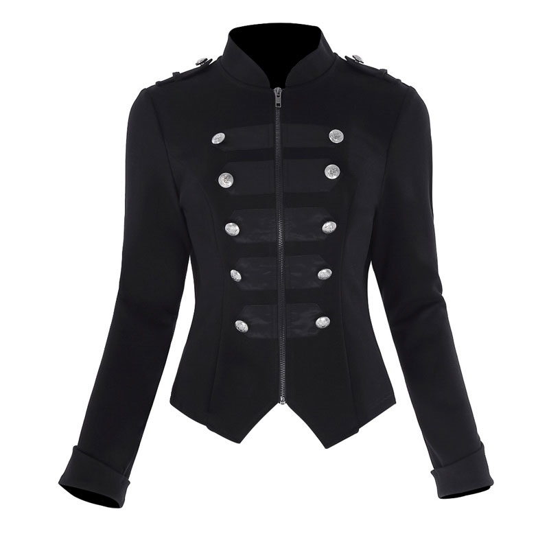 Ladies Black Military Parade Jacket