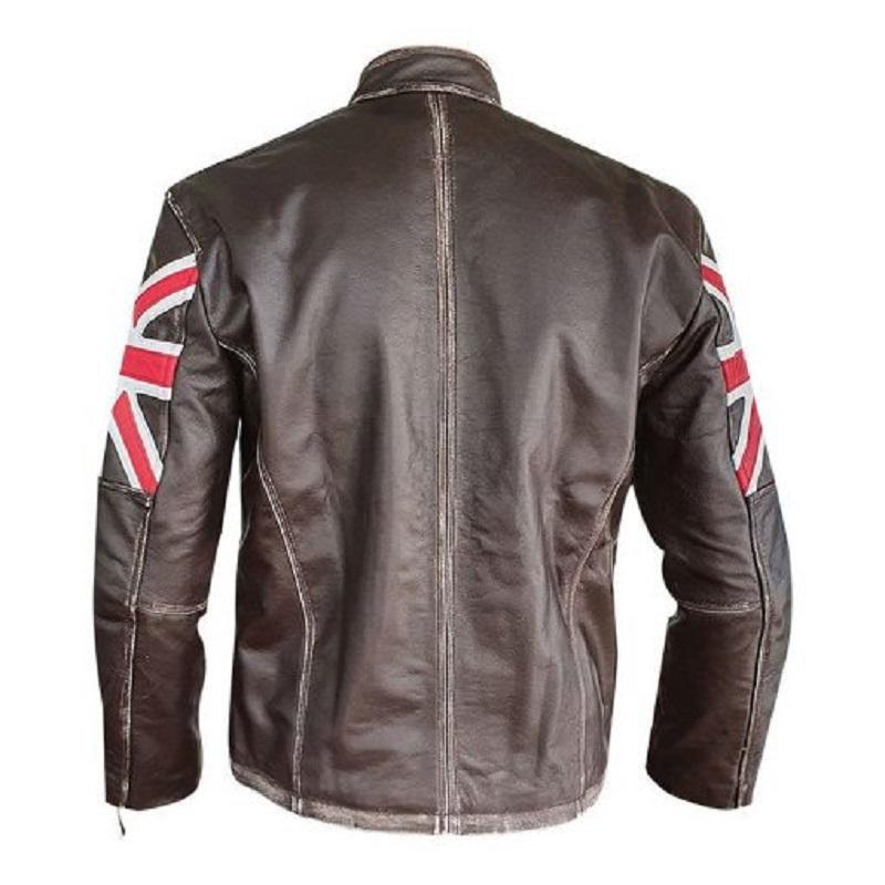 Men Brown Union Jack Sheepskin Leather Jacket