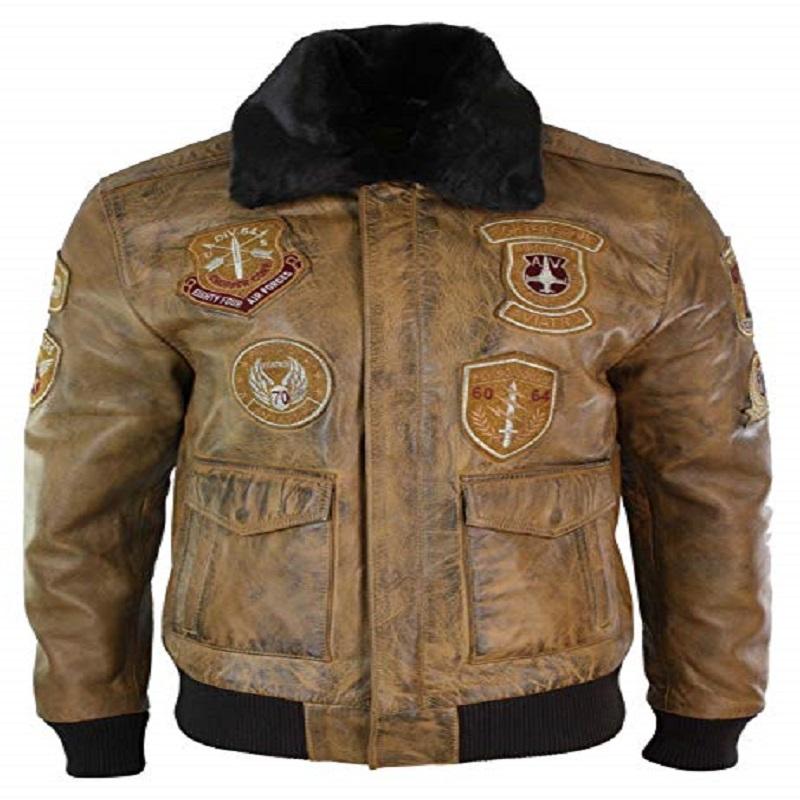 Men's Brown Aviator Bomber Jacket